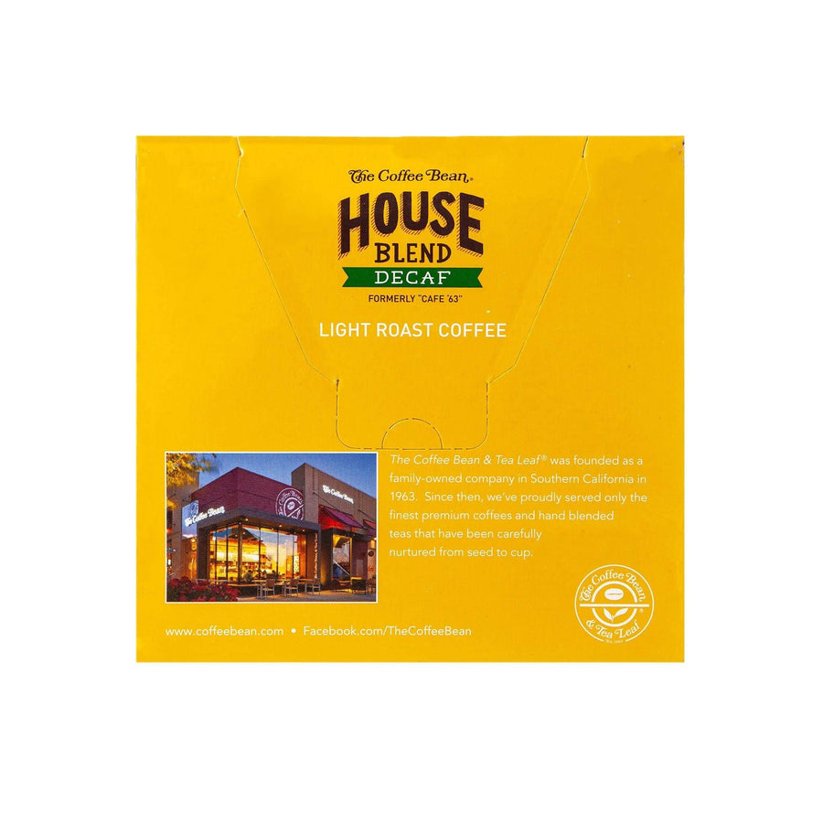 Decaf House Blend Coffee Kcups Single Serve Pods from The Coffee Bean & Tea Leaf 16ct box - Back