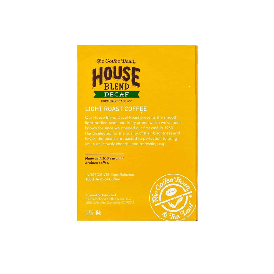 Decaf House Blend Coffee Kcups Single Serve Pods from The Coffee Bean & Tea Leaf 16ct box - Side