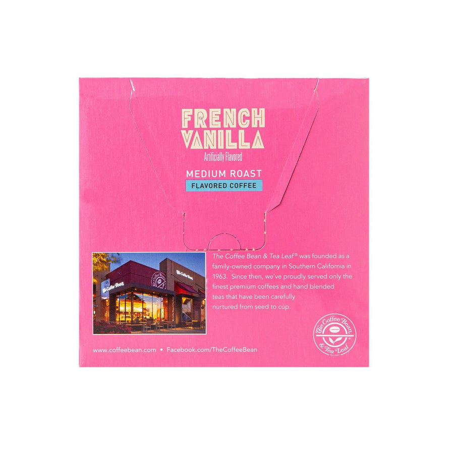 French Vanilla Medium Roast Coffee Kcups Single Serve pods from The Coffee Bean 16ct box - Back