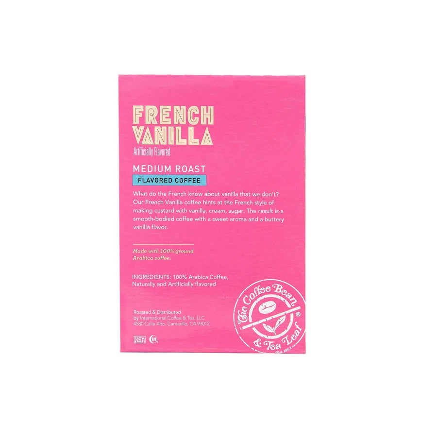 French Vanilla Medium Roast Coffee Kcups Single Serve pods from The Coffee Bean 16ct box - Side 1