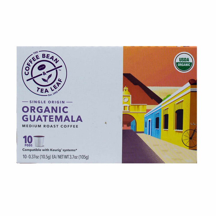 Organic Guatemala Single Origin Medium Roast Coffee Kcups Single Serve Pods from The Coffee Bean & Tea Leaf 10ct box