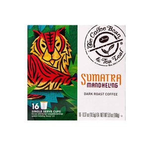 Sumatra Mandehling Dark Roast Coffee Kcups Single Serve Pods from The Coffee Bean & Tea Leaf 16ct box