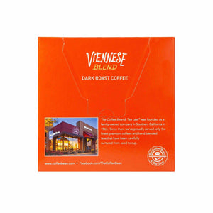 Viennese Blend Dark Roast Coffee Kcups Single Serve Pods from The Coffee Bean & Tea Leaf 16ct box - Back