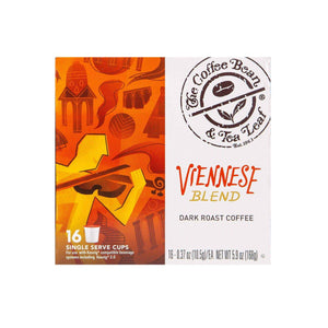 Viennese Blend Dark Roast Coffee Kcups Single Serve Pods from The Coffee Bean & Tea Leaf 16ct box