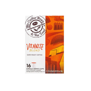 Viennese Blend Dark Roast Coffee Kcups Single Serve Pods from The Coffee Bean & Tea Leaf 16ct box - Side 1