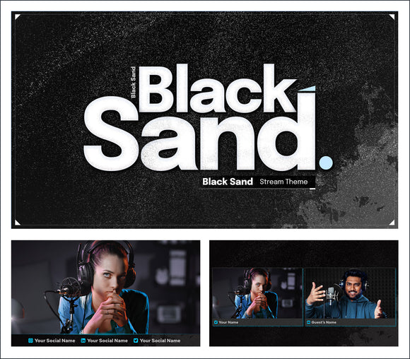 Black Sand - A dark and moody streaming template for StreamYard!