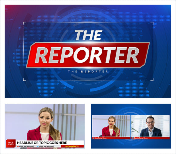 The Reporter - StreamYard overlays and backgrounds for news and news style live streams.