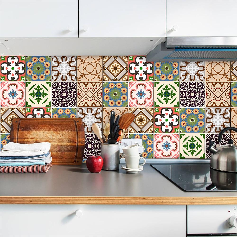 10/15/20/30cm Colorful Floral Ornament Arabesque Wall Sticker Kitchen Bathroom Ceramics Wall Decals Tiles Floor Ground Art Mural - tilesticker