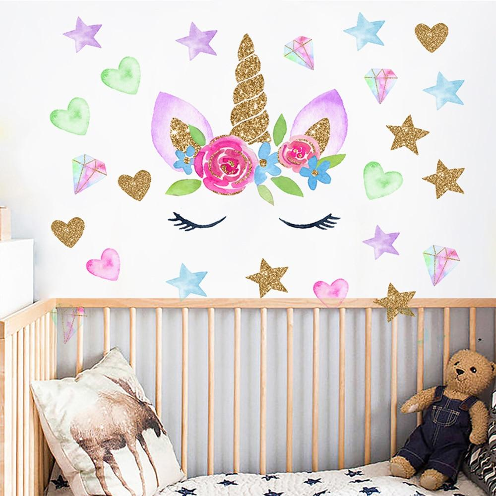 Colorful Flower Animal Unicorn Wall Sticker 3D Art Decal Sticker Child Room Nursery Wall Decoration Home Decor - tilesticker