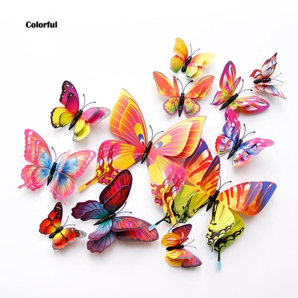 New style 12Pcs Double layer 3D Butterfly Wall Sticker on the wall Home Decor Butterflies for decoration Magnet Fridge stickers - tilesticker