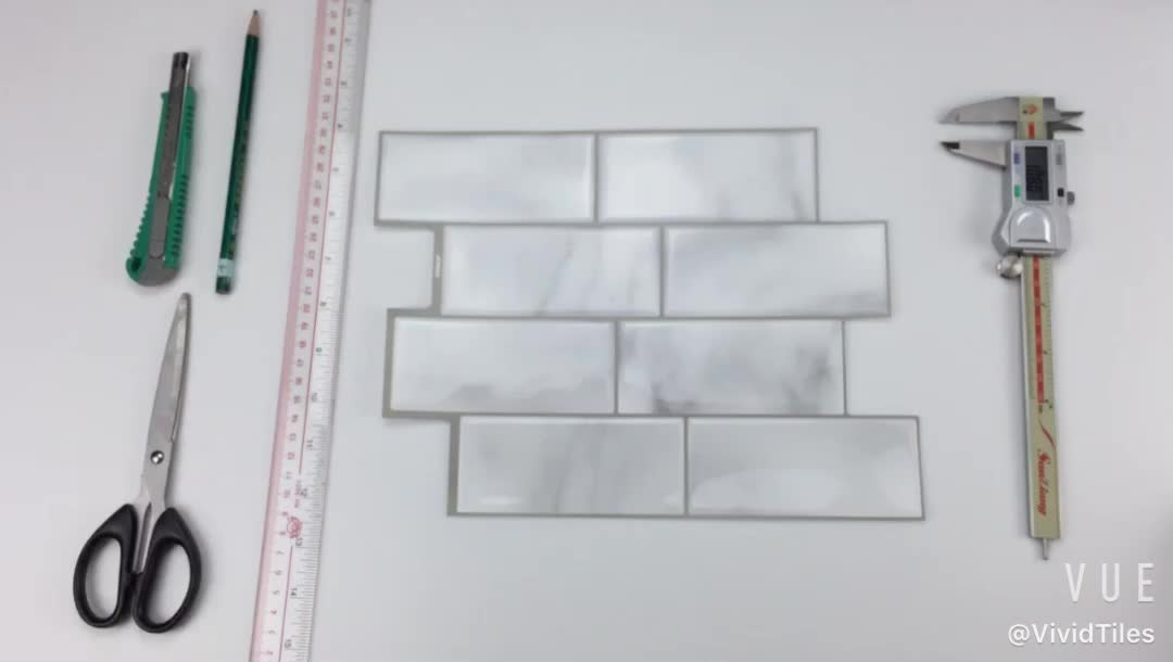 3D Peel and Stick Wall Tile White Marble Subway Tile Backsplash Kitchen Bathroom Brick Tile Waterproof PU Self-adhesive Sticker - tilesticker
