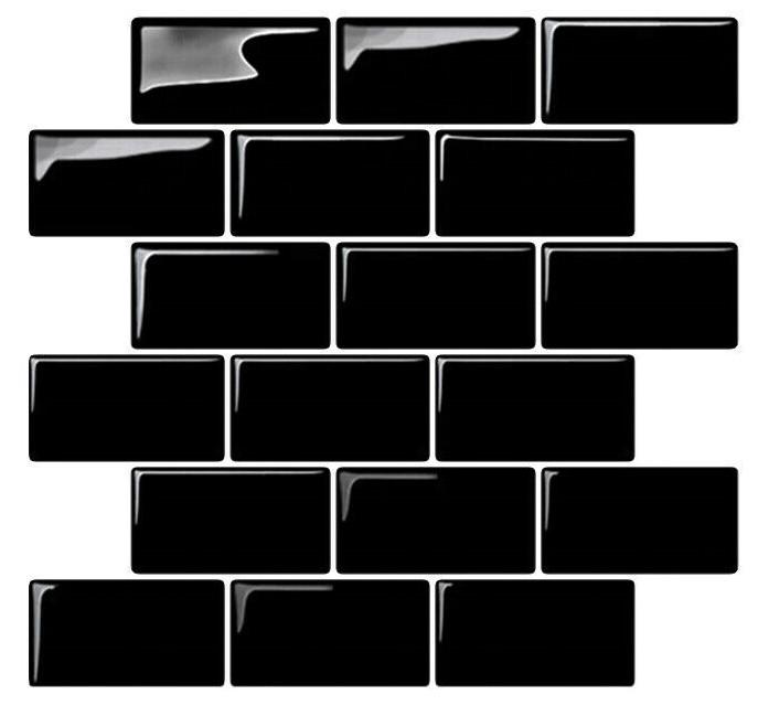 Black stick on tiles - Self adhesive subway stile tiles - tilesticker