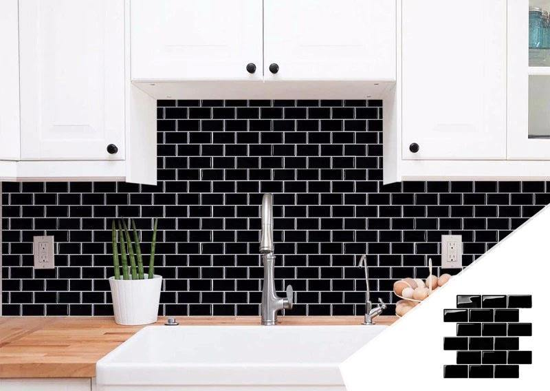Black stick on tiles - Self adhesive subway stile tiles