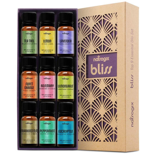 Natrogix Bliss Aromatherapy Top 9 Essential Oils Set, 100% Pure Therapeutic Grade - ValueLink Shop