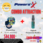 COMBO ATTRACTION: 24 Tabletas de Powers'X + Splash con Feromonas para Hombre