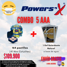 Súper Combo 5AAA: Power Sex (164 tabletas) + 1 Gel Retardante Natural