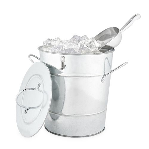 Galvanized Metal Ice Bucket & Scoop