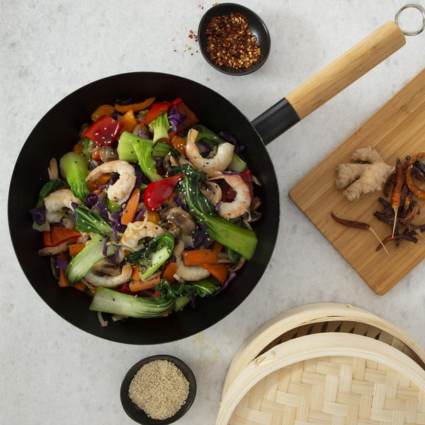 Flat Bottomed Steel Wok and Bamboo Steamer