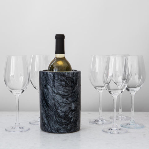 Black Marble Wine Cooler + 6 Glasses
