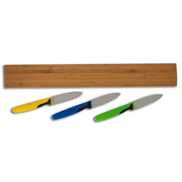 Magnetic Bamboo Knife Rack & Essential Paring Knife Set