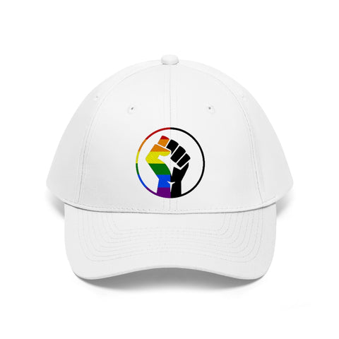 Rainbow & Black Pride Fist - Embroidered Unisex Twill Cap