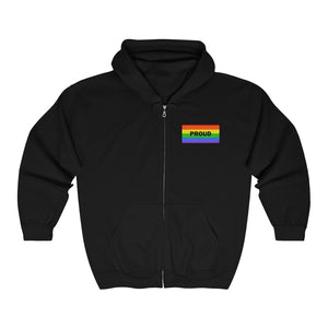 Proud With Rainbow Flag Unisex Heavy Blend™ Full Zip Hooded Sweatshirt