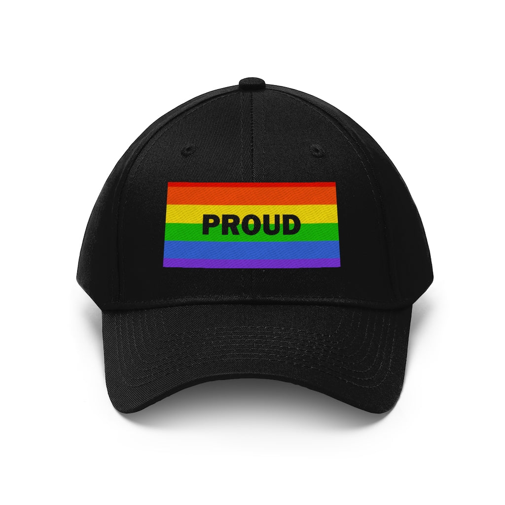 Proud With Rainbow Flag - Embroidered Unisex Twill Cap