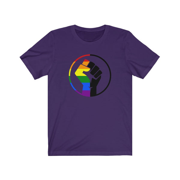 Rainbow & Black Pride Fist  Unisex Jersey Short Sleeve Tee