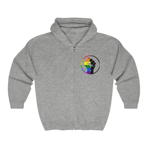 Rainbow & Black Pride Fist Unisex Heavy Blend™ Full Zip Hooded Sweatshirt