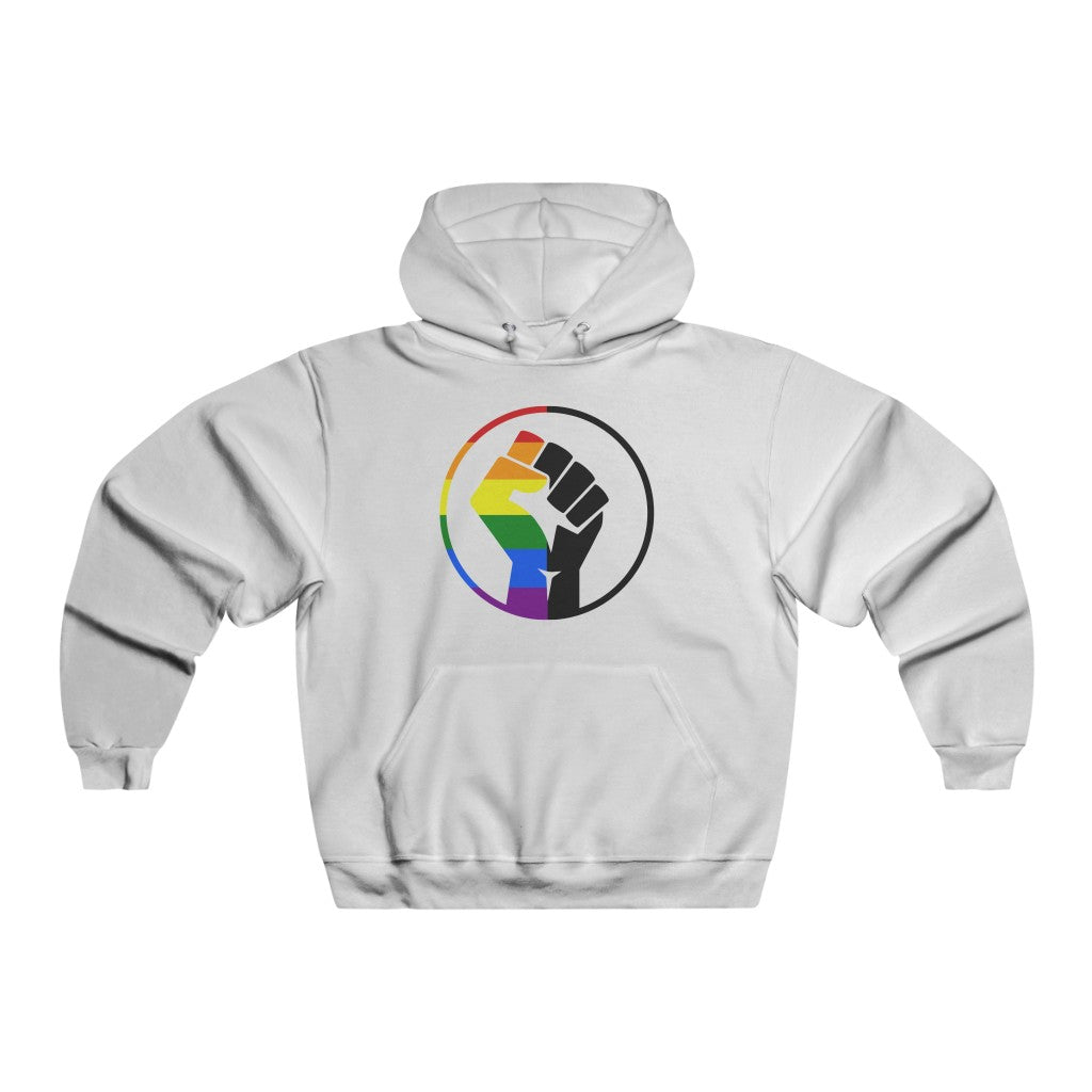 Rainbow & Black Pride Fist Men's NUBLEND® Hooded Sweatshirt