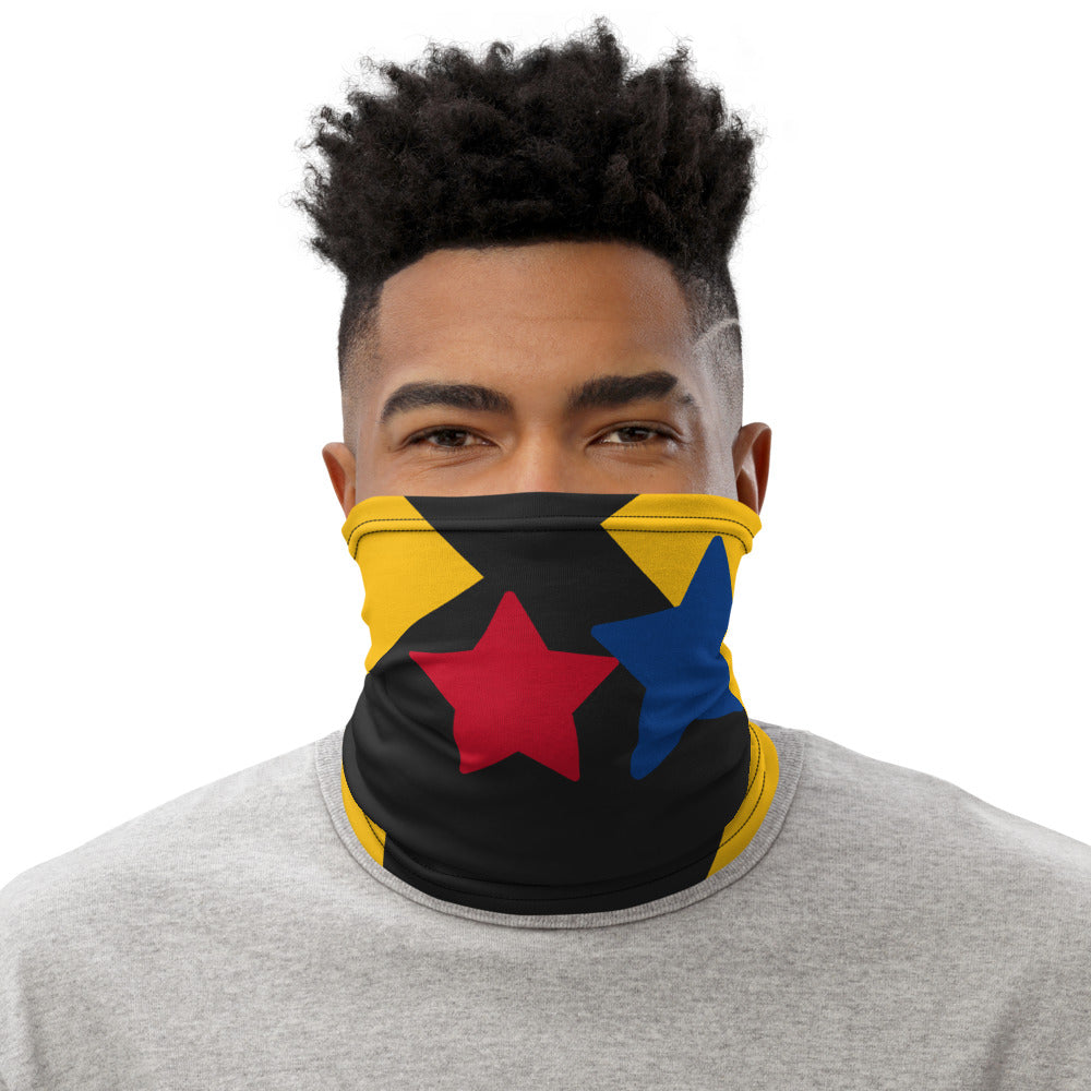 Red & Blue Stars with Black & Gold Neck Gaiter