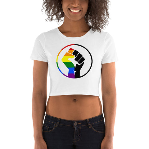 Rainbow & Black Pride Fist Women's Crop Tee