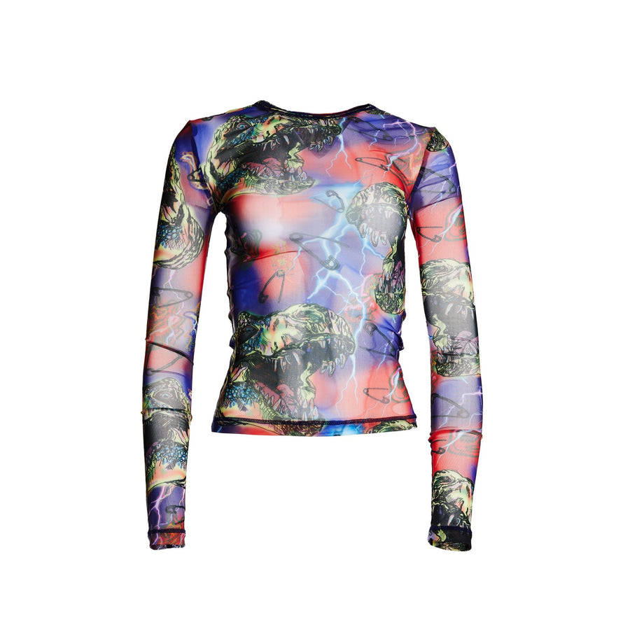 Dino Print printed mesh long sleeve top with scoop neck