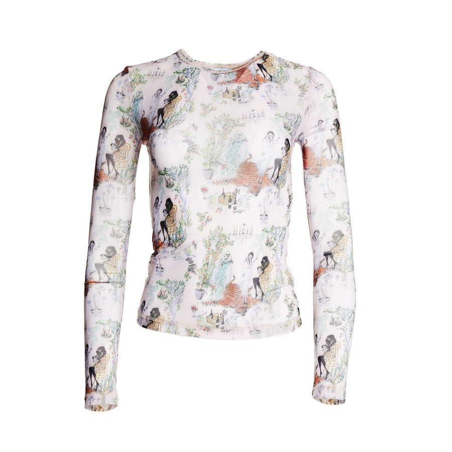 Andie Toile printed mesh long sleeve top with scoop neck.
