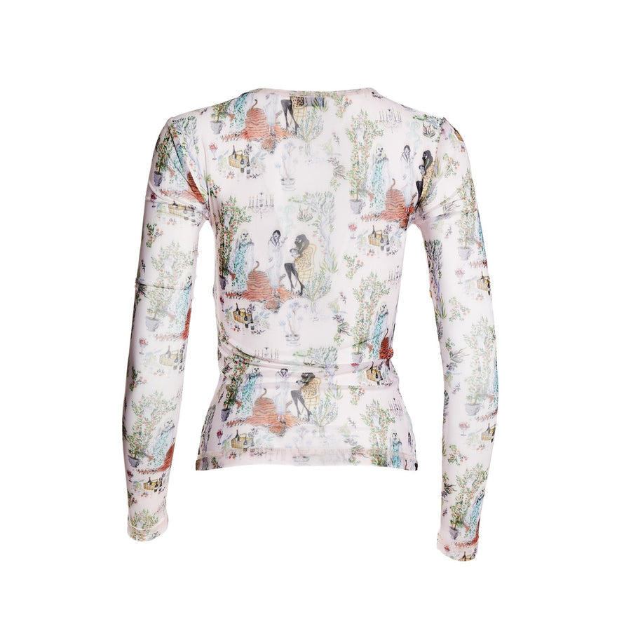 Andie Toile printed mesh long sleeve top with scoop neck