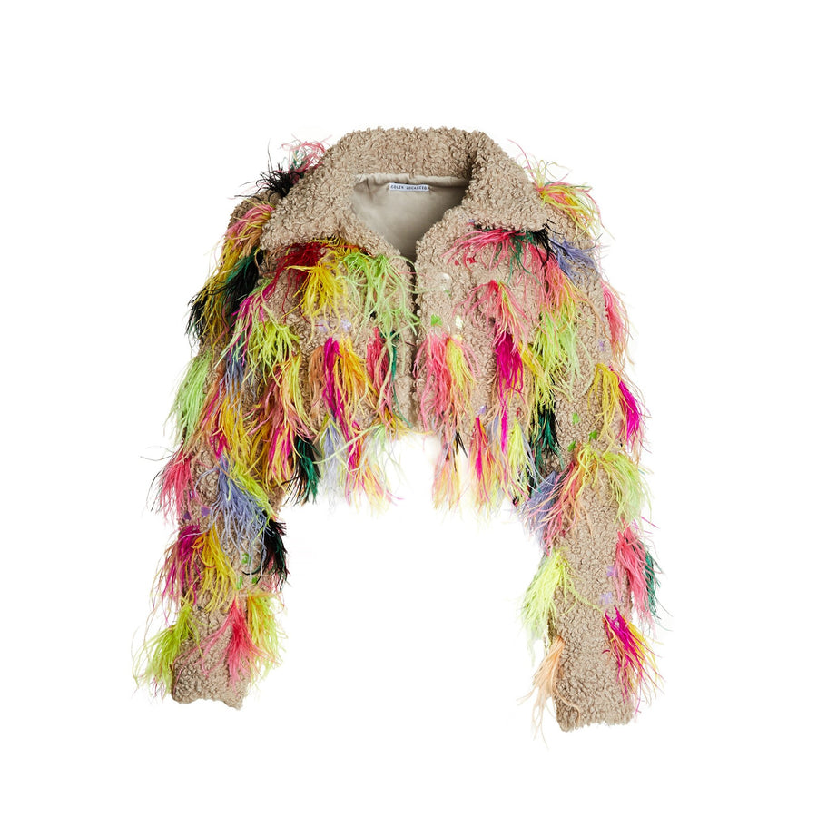 Cropped Trucker Jacket with multicolored ostrich feathers and sequin embroidery.