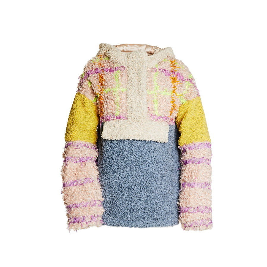 Hand embroidered Faux Fur Anorak Hooded Jacket