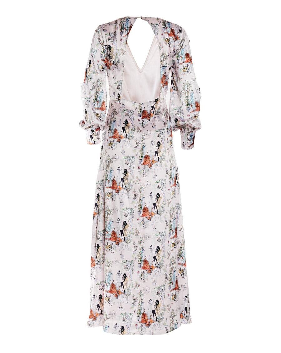 Maxi Printed Dress with Balloon Sleeves and Cut-out Back