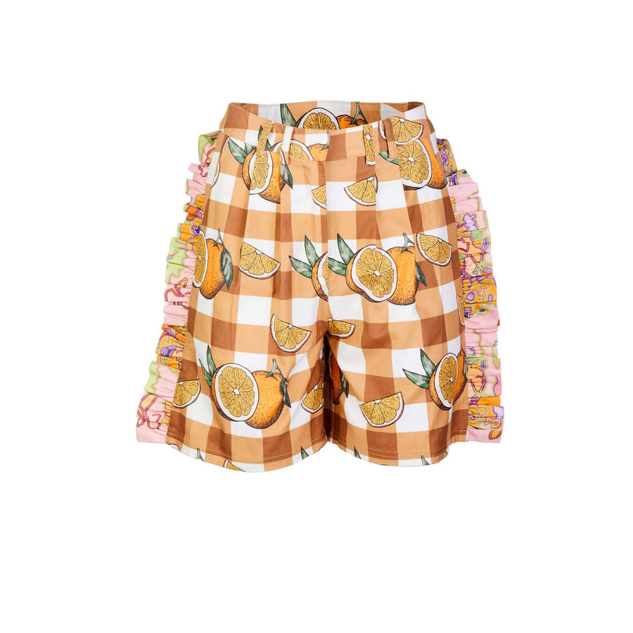 Pleated Shorts with Ruffle