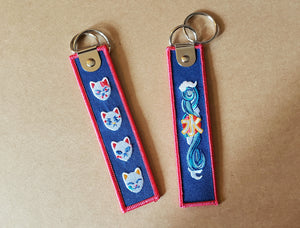 Fox Mask Embroidered Tag Keychain