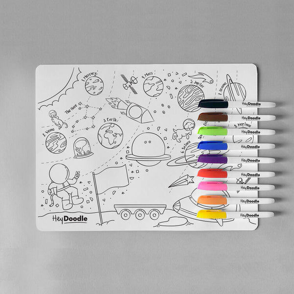 Silicone Colouring Mat ~ Outer Space - Little Gumnut Co.
