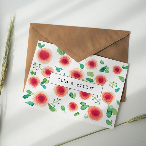 Greeting Card ~ It's a Girl - Little Gumnut Co.