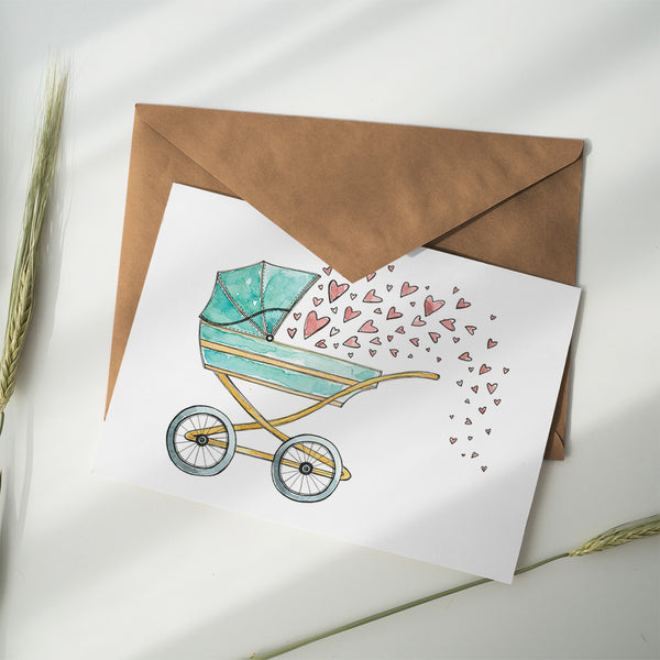 Greeting Card ~ Pram - Little Gumnut Co.