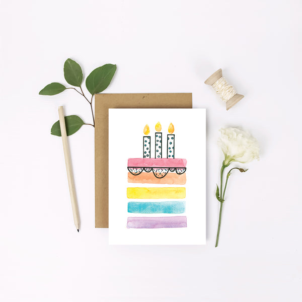 Mini Greeting Card ~ Rainbow Cake - Little Gumnut Co.