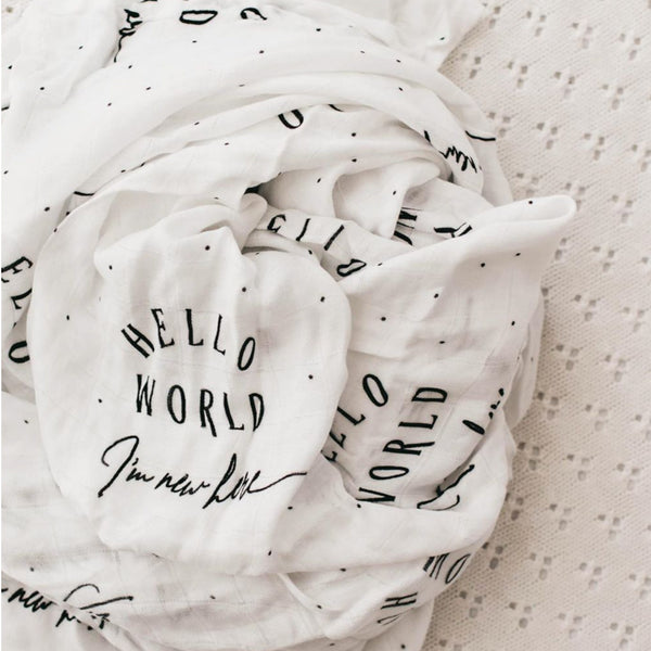 Bamboo Swaddle ~ Hello World, I'm New Here - Little Gumnut Co.