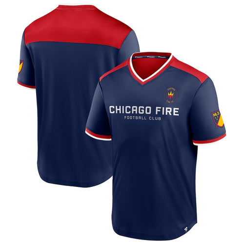 Men's Chicago Fire Fanatics Branded Navy Line Up Striker V-Neck T-Shirt