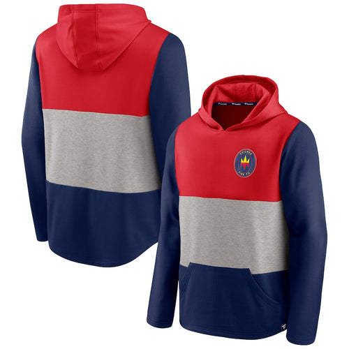 Men's Chicago Fire Fanatics Branded Red/Navy Prep Squad Line Logo Pullover Hoodie