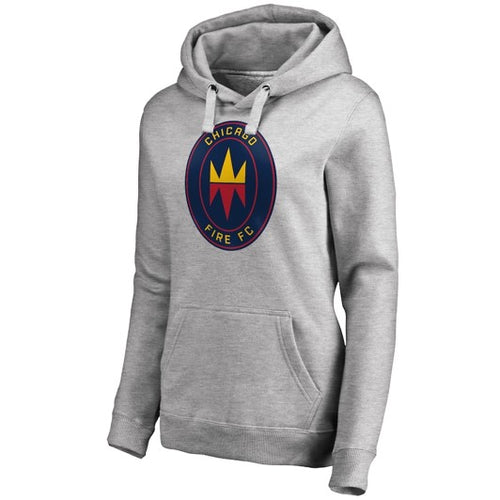 Women's Chicago Fire Fanatics Branded Heather Gray Alternate Crest Logo Pullover Hoodie