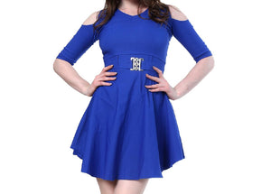 Blue Cotton Solid Fit And Flare Dress
