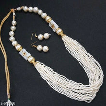 Load image into Gallery viewer, White Beads Antique Jewellery set
